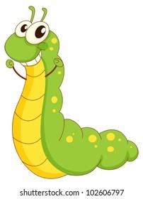 Illustration of a green caterpillar cartoon