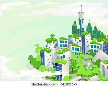 Illustration of a Green City Surrounded by Lush Green Plants and Trees