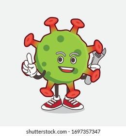 An illustration of Green Corona Virus cartoon mascot character as happy mechanic