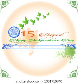 illustration of Green dove flying on abstract color of flag background showing peace.independence day in India celebration- August 15.