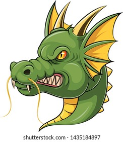 illustration of green dragon head mascot