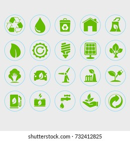 illustration of green environmental friendly icons
