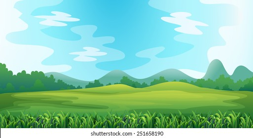 Illustration of a green field