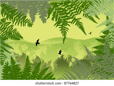 illustration with green forest and birds in sky