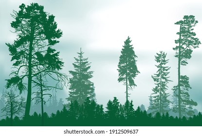 illustration with green forest on light sky background