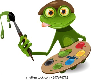 illustration green frog artist with palette and brush