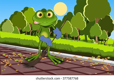 Illustration of a green frog with a broom