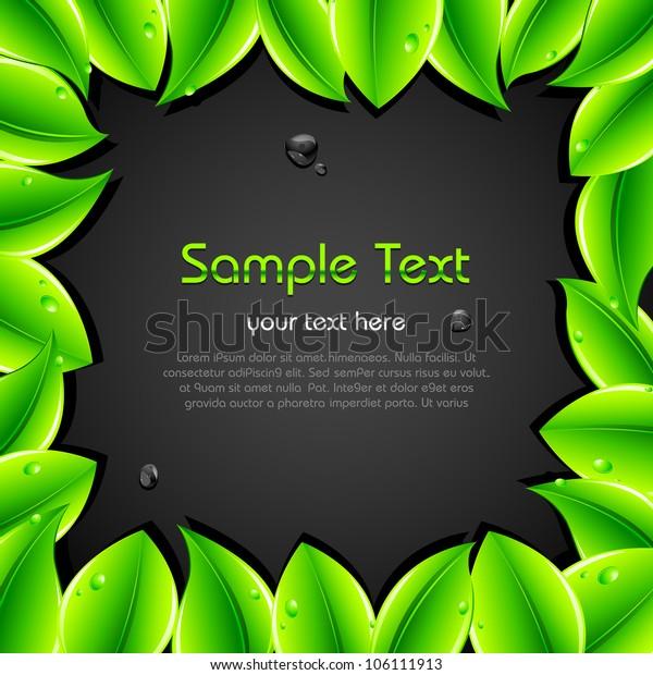 illustration of green leaf forming frame on dark background