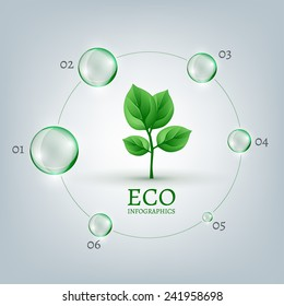 The illustration of a green leaf in a transparent bubble. Ecology Concept.