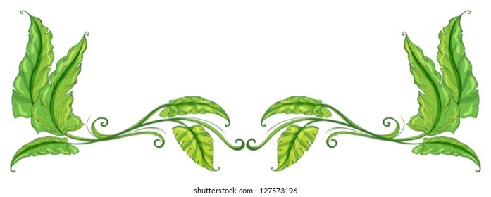 Illustration of a green leafy border on a white background