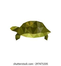 Illustration of green origami turtle isolated on white background