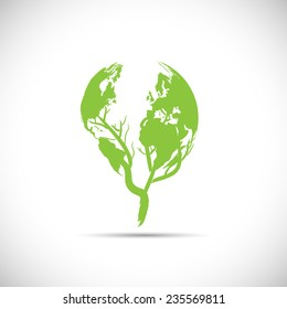 Illustration of a green planet design isolated on a white background.