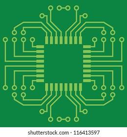Illustration of Green Seamless Printed Circuit Board