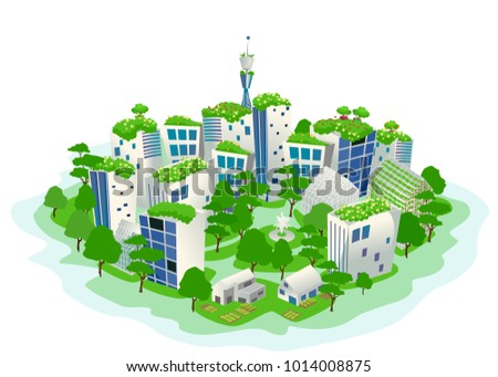 illustration green sustainable city trees greenhouses stock vector