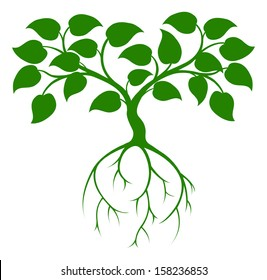 An illustration of a green tree graphic with long roots