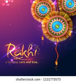 illustration of greeting card with decorative Rakhi for Raksha Bandhan, Indian festival of brother and sister bonding celebration