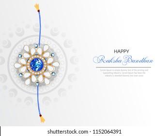 illustration of greeting card with decorative Rakhi for Raksha Bandhan