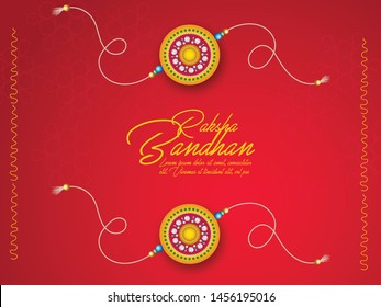 illustration of greeting card with decorative Rakhi for Raksha Bandhan, Indian festival of brother and sister bonding celebration