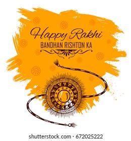illustration of greeting card with decorative Rakhi for Raksha Bandhan, Indian festival for brother and sister bonding celebration with text Bandhan rishton ka meaning The binding relationships