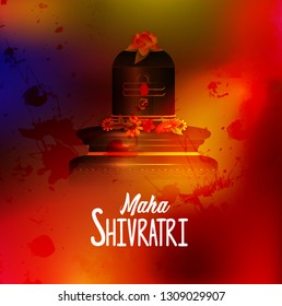 illustration of Greeting card for maha  Shivratri, a Hindu festival celebrated of Lord Shiva with himalaya background,trishul,lingam and water splash