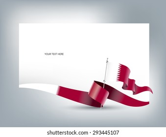Illustration greeting card with Qatar Flag for National Day - vector