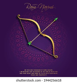 illustration of Greeting card for Ram Navami , a Hindu festival celebrated of Lord Ram, background, greeting card , poster,  banner design