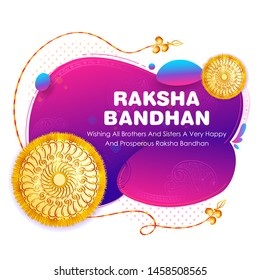 illustration of greeting card and template banner for sales promotion advertisement with decorative Rakhi for Raksha Bandhan, Indian festival for brother and sister bonding celebration
