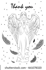 Illustration of a greeting card for Thanksgiving Day with the image of a praying angel
