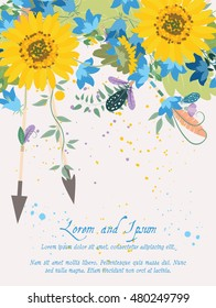 Illustration greeting hand-drawn sunflower floral background. Vector pattern with flowers and leaves