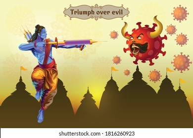 Illustration greetings of rama attacking virus with vaccine