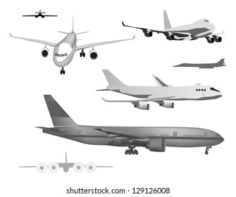 illustration with grey airplanes collection isolated on white background