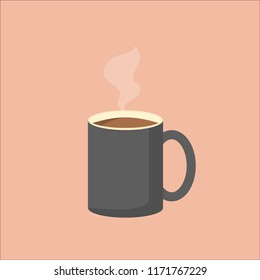 Illustration of grey coffee mug with steam. Vector image of coffee cup. EPS10 compatible