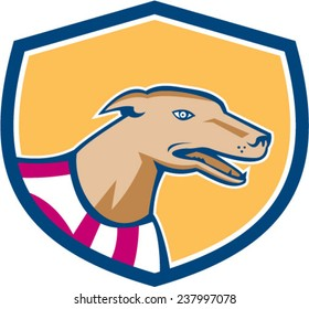 Illustration of a greyhound dog head viewed from side set inside shield on isolated background done in retro style.