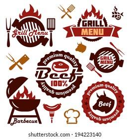 Illustration Grill Menu Labels Set of in Flat Design Style.