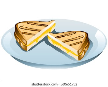 Illustration of a grilled cheese sandwich on a plate.