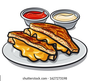 illustration of the grilled cheese sandwiches with sauce on the plate