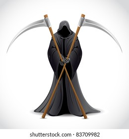 illustration of grim holding sword on abstract background