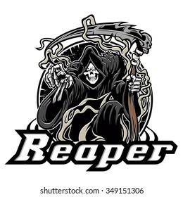 Illustration of grim reaper on white background
