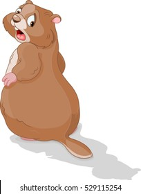Illustration of a groundhog looking at his shadow