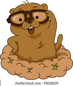 Illustration of a Groundhog Wearing Glasses