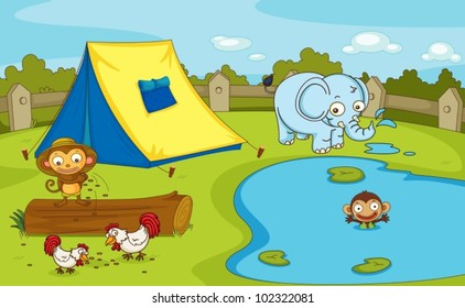 Illustration of a group of animals by the pond