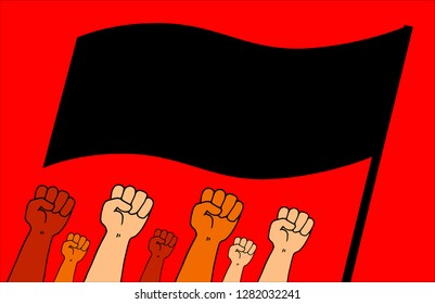 Illustration of a group of arms held high with a closed fist with a black flag in fighting position