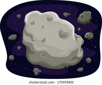 Illustration of a Group of Asteroids Floating in Space