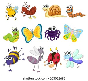 Illustration of a group of bugs