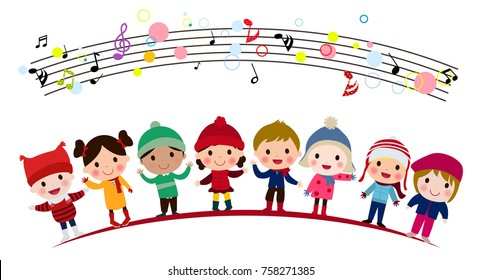 Illustration of group of children singing