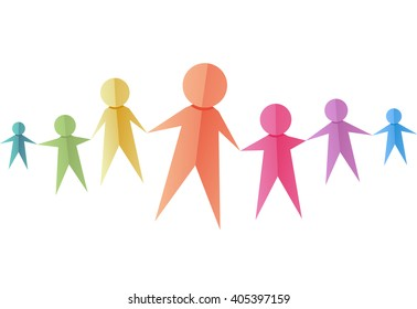 Illustration of a Group of Colorful Paper Cutouts
