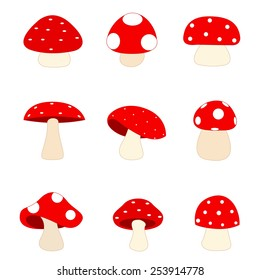 Illustration of a group of different shaped red mushrooms isolated on white