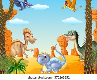 Illustration of group dinosaur in the prehistoric background