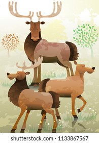 Illustration of a Group of Elk Called a Gang. Collective Noun. eps10