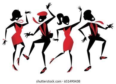 Illustration d'un groupe de danseurs de jazz retro énergiques.